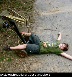 Photo of a boy who had an accident on a go kart.