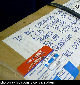 Photo of an addressed parcel