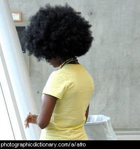 Photo of a woman with an afro
