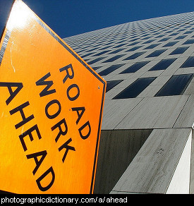 Photo of a road sign that says road work ahead