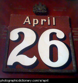 Photo of a calendar on April