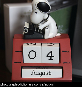 Photo of a calendar on August