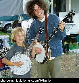 Photo of two people playing banjos