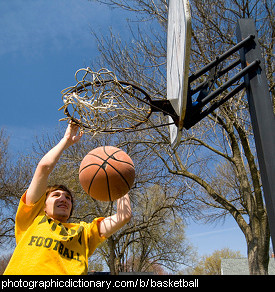 Photo of someone playing basketball