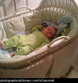Photo of a baby in a bassinet