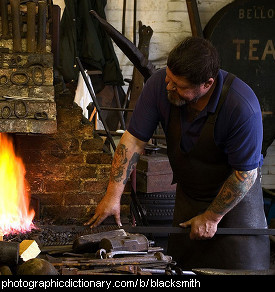 Photo of a blacksmith at work