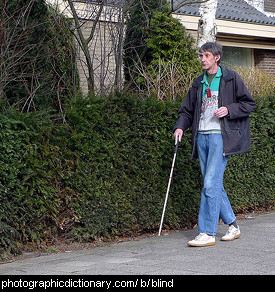 Photo of a blind man.
