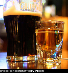Photo of beer and whiskey