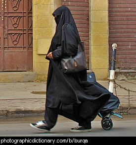 Photo of a woman wearing a burqa