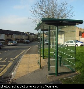 Photo of a bus stop.