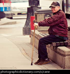 Photo of a man with a walking cane