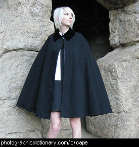 Photo of a woman wearing a cape