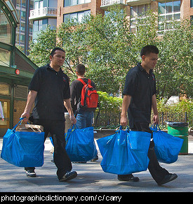 Photo of two men carrying bags