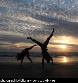 Photo of some people doing cartwheels