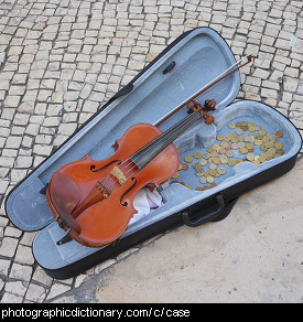 Photo of a violin and case