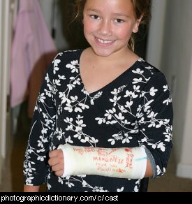 Photo of a girl with a broken arm in a cast