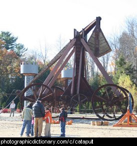 Photo of a wooden catapult or trebuchet