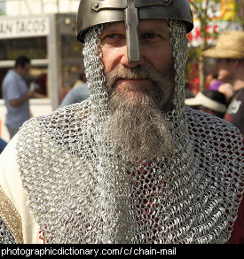 Photo of a man wearing chainmail
