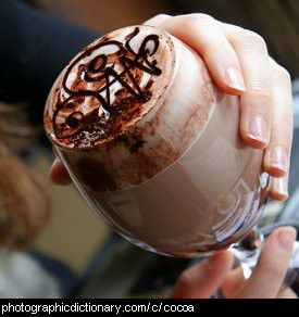 Photo of a glass of hot chocolate.