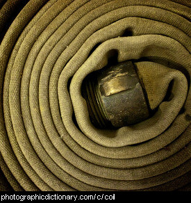 Photo of a coiled fire hose