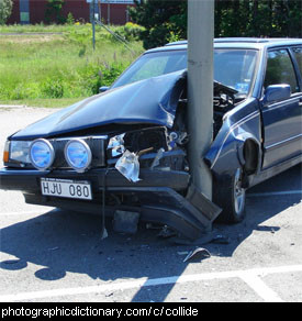 Photo of a car crashed into a pole