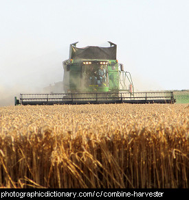 Photo of a combine harvester