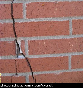 Photo of a crack in a brick wall