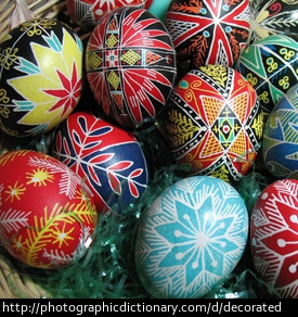 Photo of decorated Easter eggs