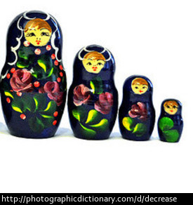 A set of Matryoshka dolls decrease in size.