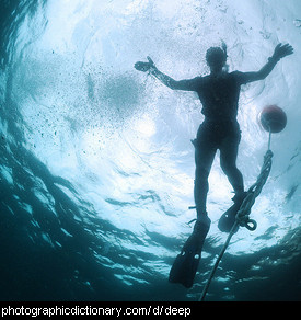 Photo of a diver in deep water
