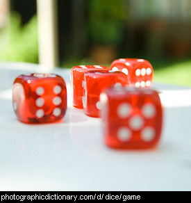 Photo of red and white dice