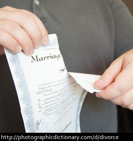 Photo of a man tearing up a marriage certificate