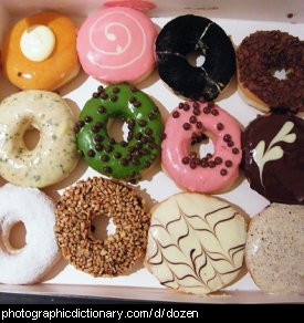 Photo of a dozen donuts