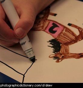 Photo of someone drawing a picture.