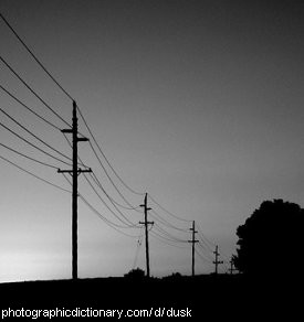 Photo of telephone lines at dusk
