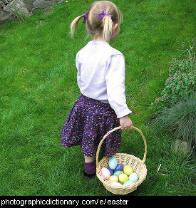 Photo of a girl with a basket of eggs