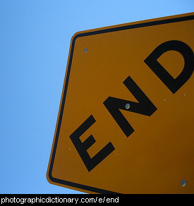 Photo of a sign that says end