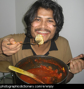 Photo of someone enjoying a meal