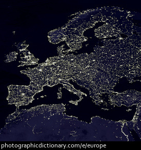 Photo of Europe at night