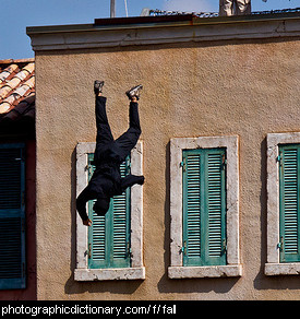 Photo of a man falling off a building