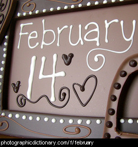 Photo of a sign that says February