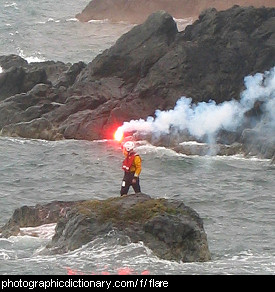 Photo of a flare being lit
