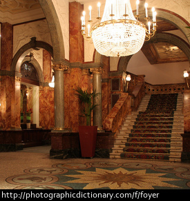 A hotel's foyer.