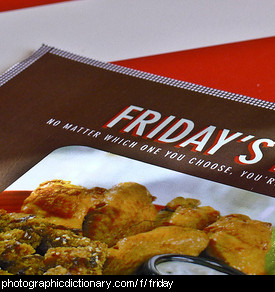 Photo of a menu that says Friday