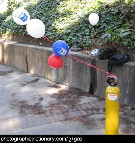 Photo of a gas cylinder and helium balloons
