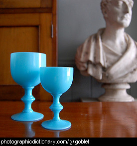 Photo of two blue goblets