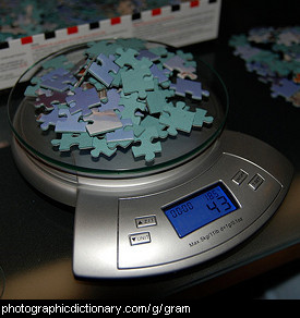 Photo of 43 grams of puzzle pieces