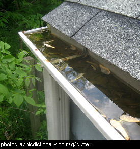 Photo of a roof gutter
