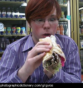 Photo of someone eating a gyros