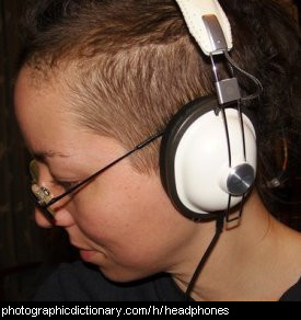 Photo of someone wearing headphones